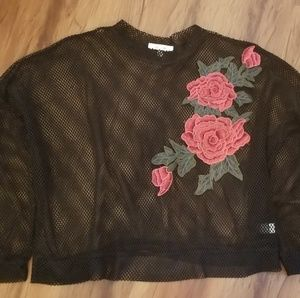 Mesh top with flowers